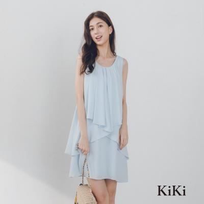 【KiKi】飄逸雪紡修身-洋裝(二色)