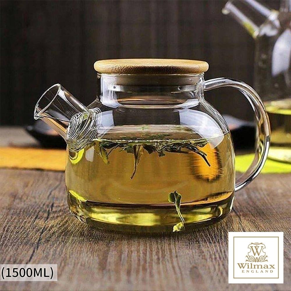 英國WILMAX 日式茶濾短嘴竹蓋把手耐熱玻璃壺/花茶壼-1500ML