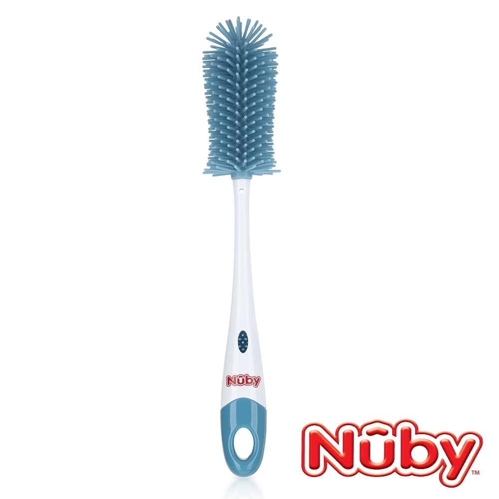 Nuby 矽膠奶瓶奶嘴刷-藍