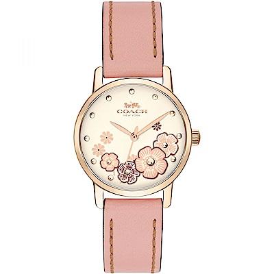 COACH Delancey 山茶花戲情 時尚腕錶(14503060)-粉x金/28mm