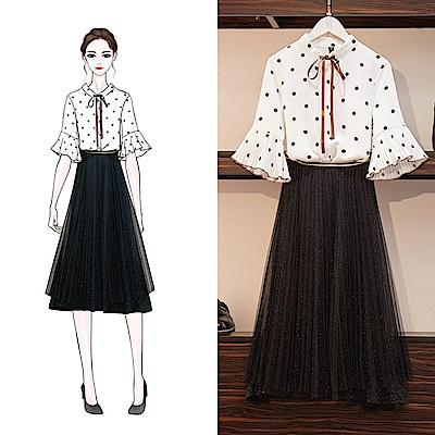 初色  百褶喇叭袖波點襯衫 純色紗裙-共2色-(F可選)