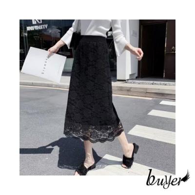 【白鵝buyer】韓風 兩穿加厚款蕾絲素面雙面裙(黑色)