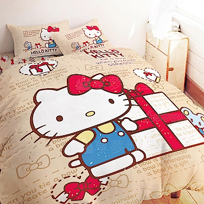 享夢城堡 雙人加大床包兩用被套四件組-HELLO KITTY 蝴蝶結-米.紅