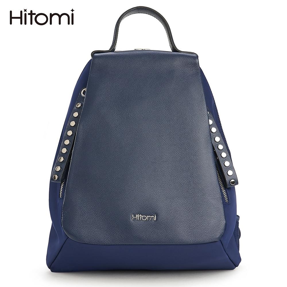 【Hitomi】率性鉚釘雙拉鍊後背包(率性藍31018BR)