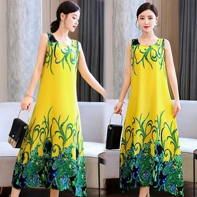 [韓國K.W.]絲棉質感柔枝嫩葉莊園長洋裝