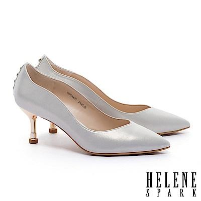 高跟鞋 HELENE SPARK 唯美氣質珍珠造型全真皮尖頭高跟鞋-金