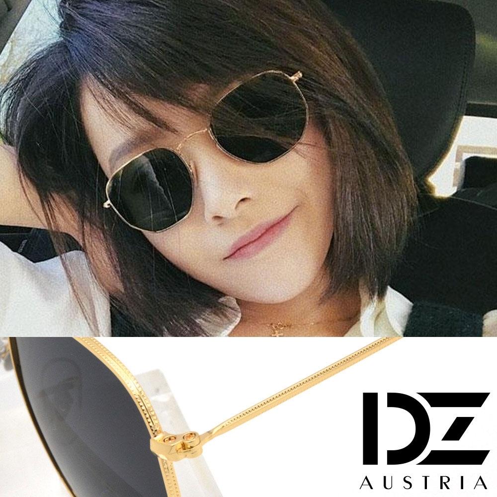 【2件59折】DZ 角弧細點繞邊 抗UV 偏光太陽眼鏡墨鏡(金框灰片)
