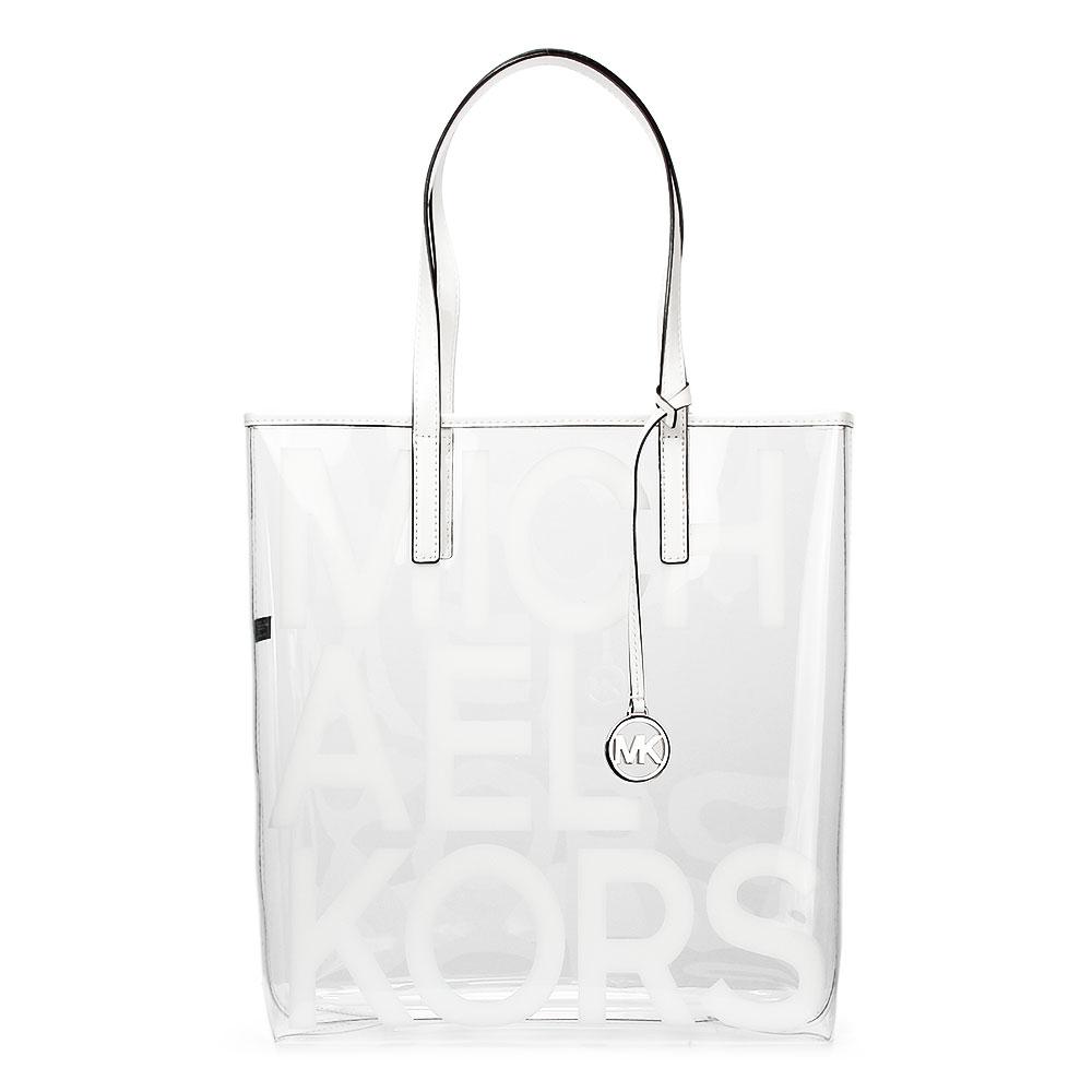 MICHAEL KORS The Michael LOGO字樣水晶透明托特包-大/白色