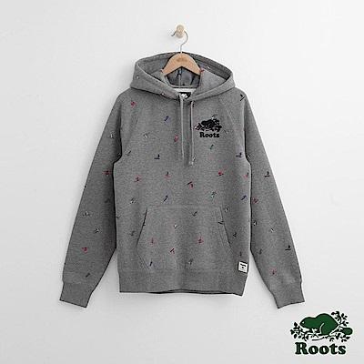 Roots 男裝- 滑雪滿版印花連帽上衣-灰