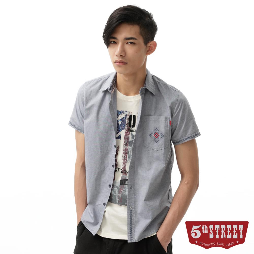 5th STREET 襯衫 素面圖騰繡花襯衫-男-淺藍