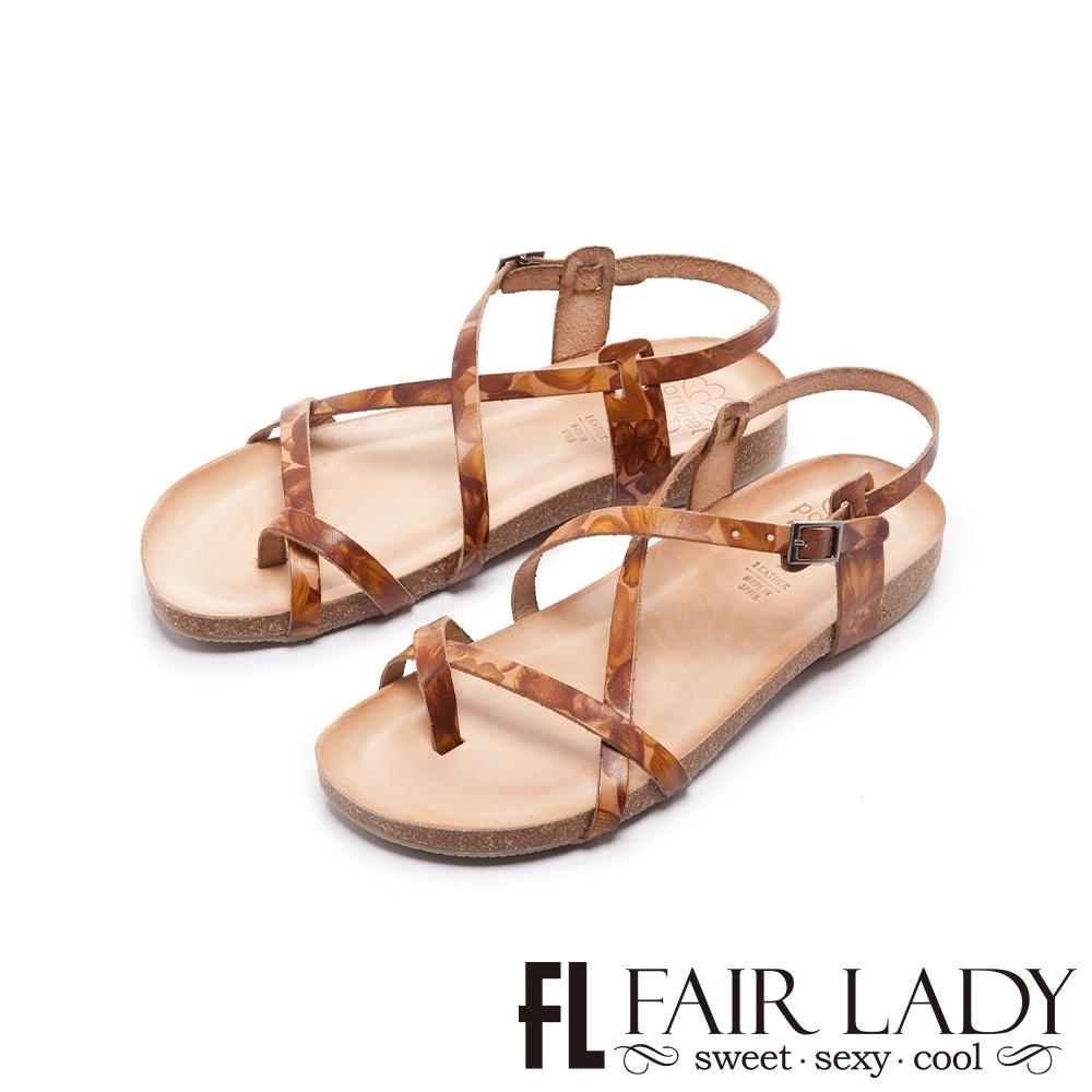 FAIR LADY  PORRONET 植鞣皮革極簡線條平底涼鞋   卡其