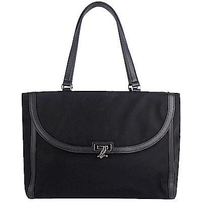 agnes b. voyage 黑色尼龍布品牌壓扣方形托特包