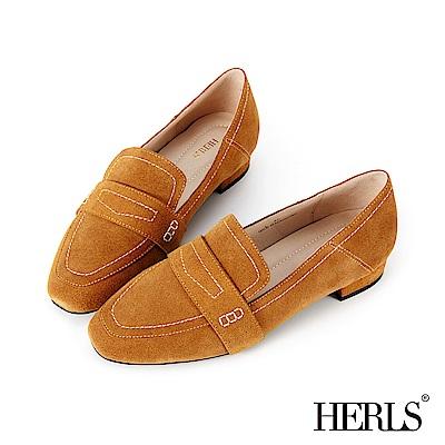 HERLS 全真皮車縫壓線麂皮樂福鞋-駝色