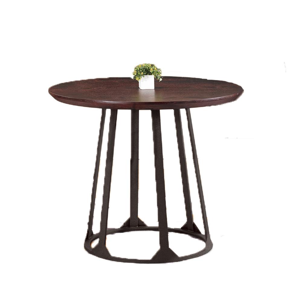 H&D 康森3尺深木紋圓桌