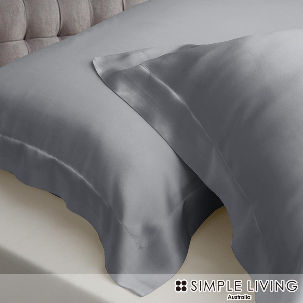 澳洲Simple Living 特大600織台灣製天絲床包枕套組(爵士灰)