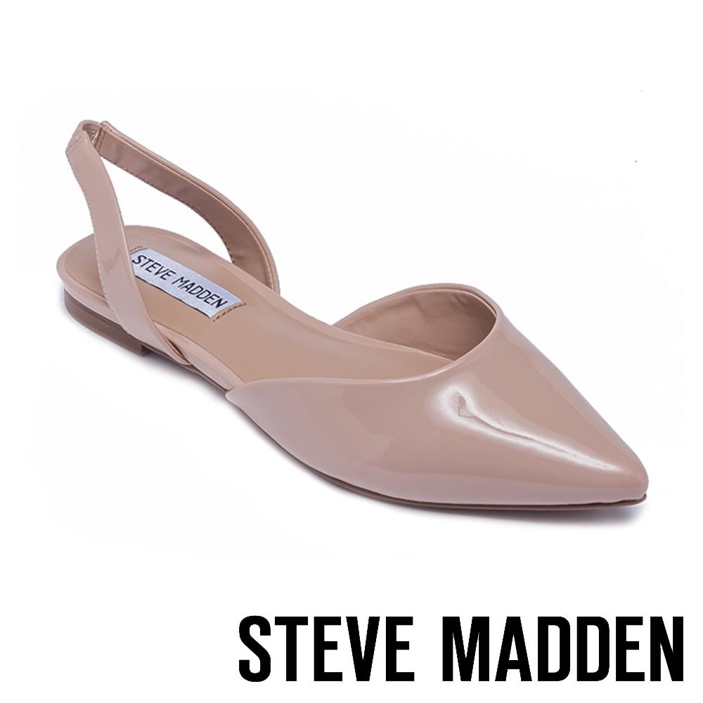 STEVE MADDEN-FREY 簡約低調 後跟帶包趾平底涼鞋-鏡粉