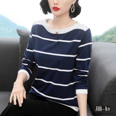 JILLI-KO 鈕扣造型橫條長袖上衣- 藍色