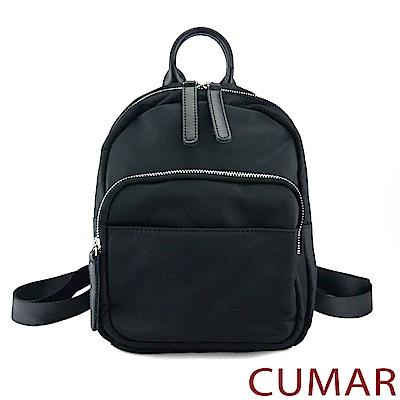 CUMAR 雙拉鍊防潑水小型尼龍後背包-黑