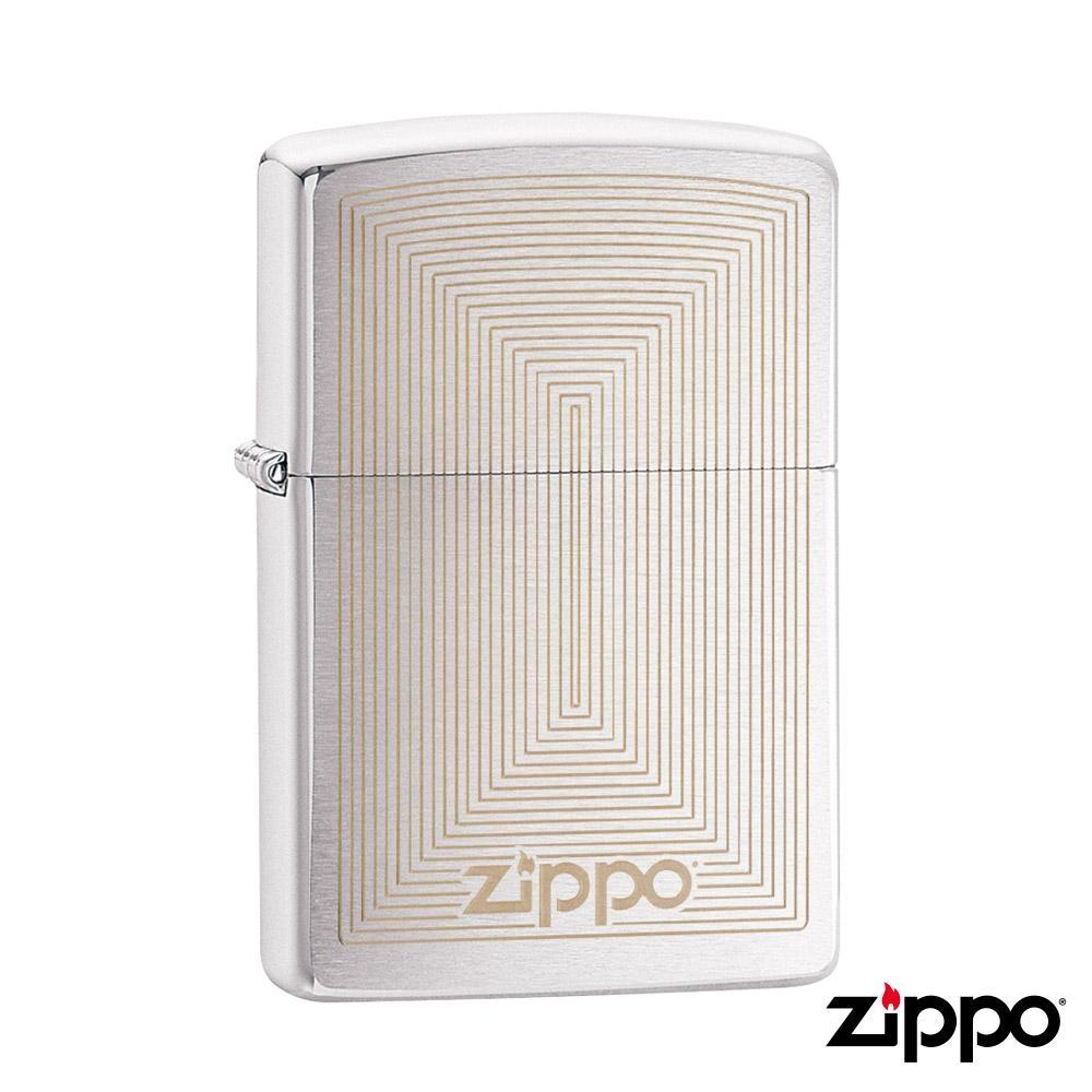 美系Zippo 矩型幾何-雷雕拉絲鍍鉻防風打火機#29920