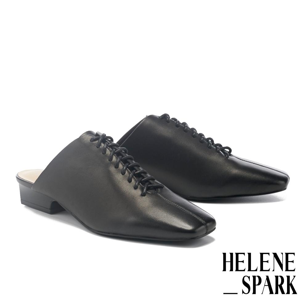 穆勒鞋 HELENE SPARK 時髦綁帶羊皮方頭低跟穆勒拖鞋-黑