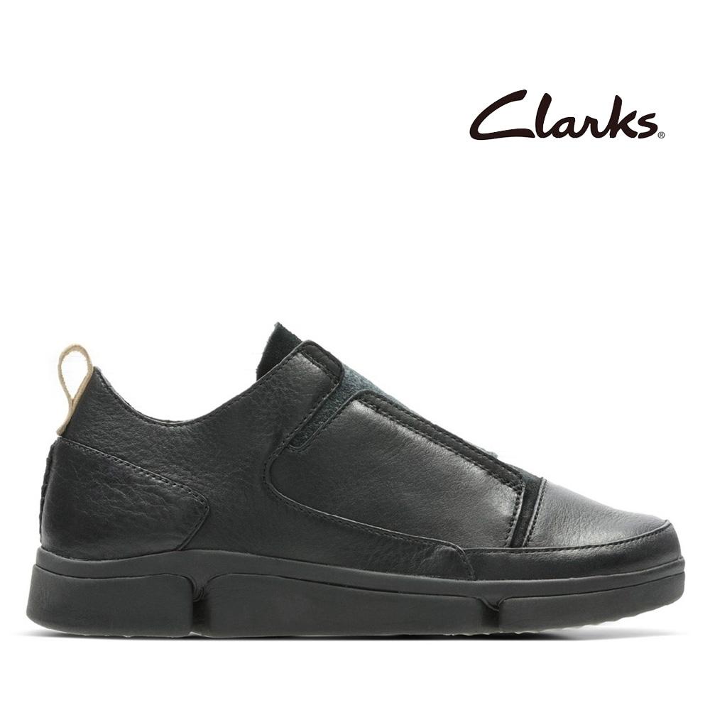 Clarks 運動行風 異材質拼接不對稱感懶人鞋 黑色