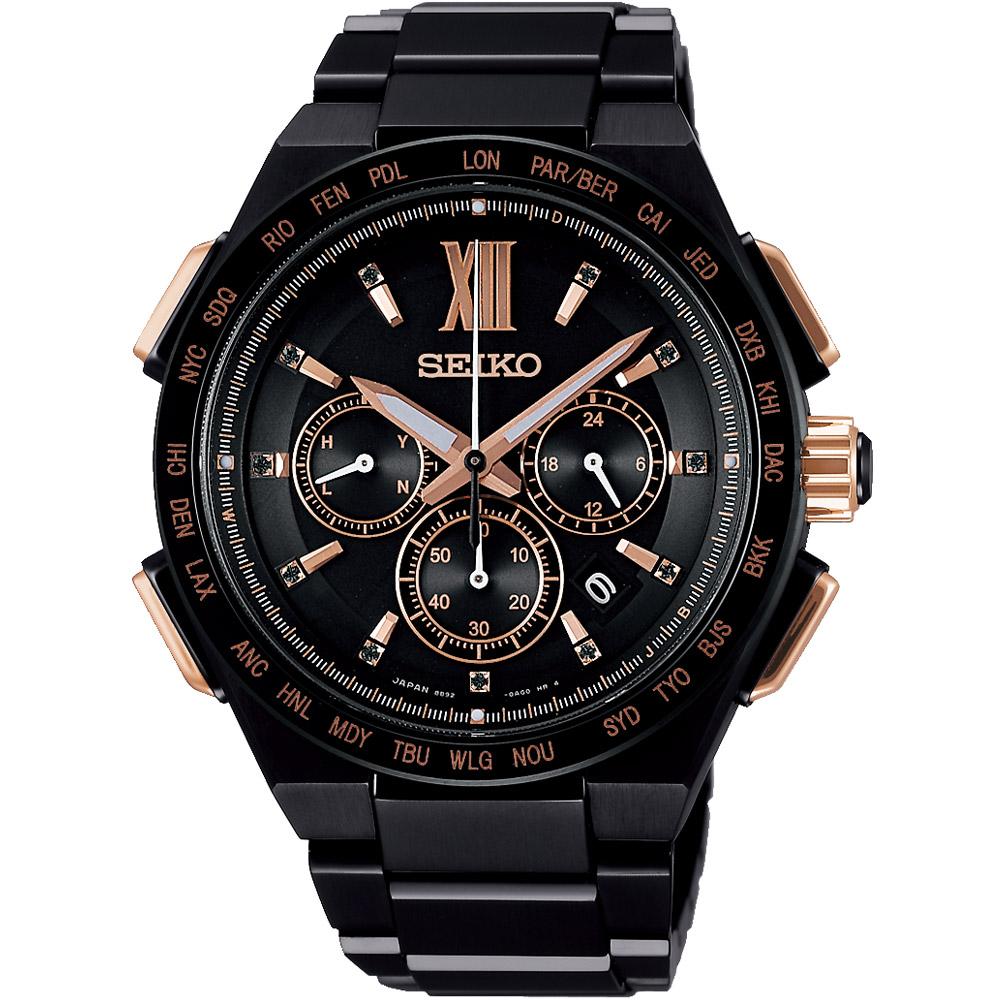 SEIKO精工 BRIGHTZ 限量太陽能電波腕錶(SAGA214J)-黑/42mm