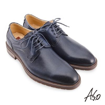 A.S.O 職場通勤 職人通勤刷色壓紋德比鞋-深藍