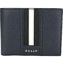 BALLY BEVYE 經典黑白條紋夜藍色六卡對折短夾