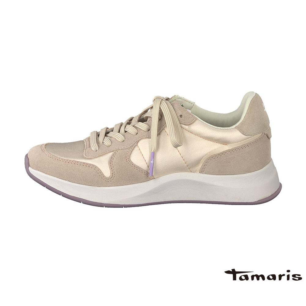 TAMARIS(女) 復古老爹 尼龍VS牛皮高彈力都會運動鞋 - 撒嬌粉