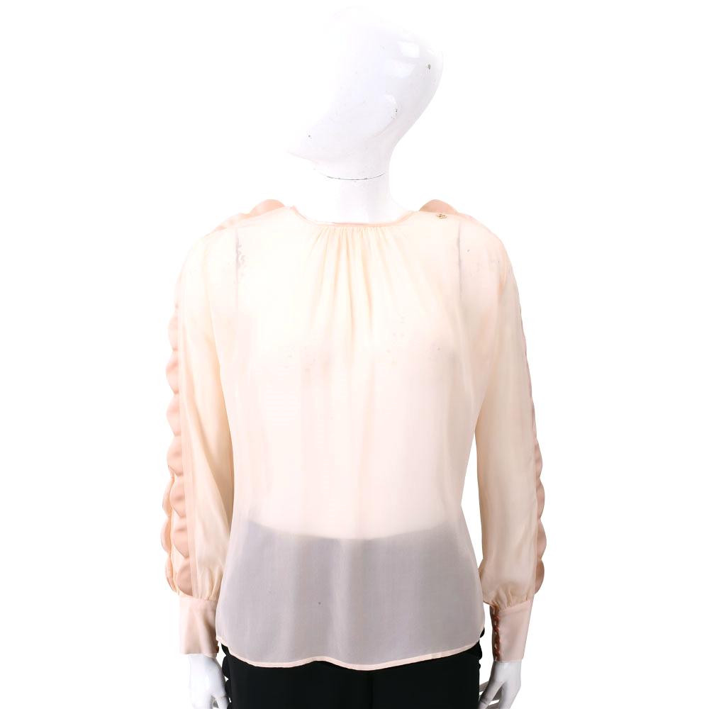 ELISABETTA FRANCHI 緞面花瓣細節粉色雪紡上衣