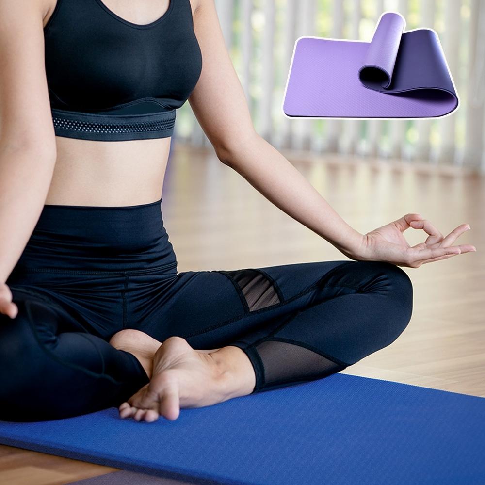 QMAT 素色雙面止滑瑜珈墊10mm.加厚運動軟墊 健身止滑墊 嬰兒爬行墊