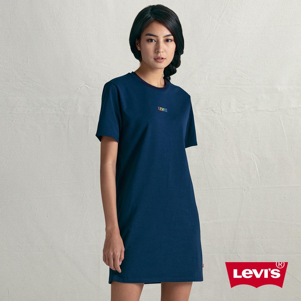Levis 女款 洋裝T恤 彩虹刺繡Logo