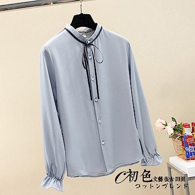 純色立領繫帶長袖襯衫-共2色(M-2XL可選)   初色