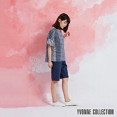 YVONNE 格紋荷葉袖上衣-藍