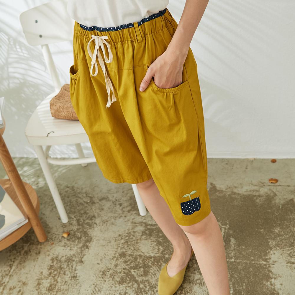 慢 生活 綠苗刺繡五分寬鬆短褲- 黃色
