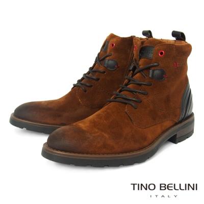 TINO BELLINI 葡萄牙進口牛麂皮陽剛帥氣側拉鍊工裝靴