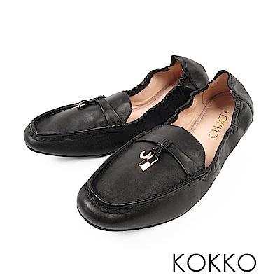 KOKKO - 最美的風景柔軟羊皮莫卡辛便鞋-經典黑
