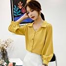 初色  燈籠袖雪紡襯衫-共2色-(M-2XL可選)