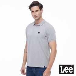 Lee Logo皮標 短袖 開襟POLO衫 男款-彈性-灰色