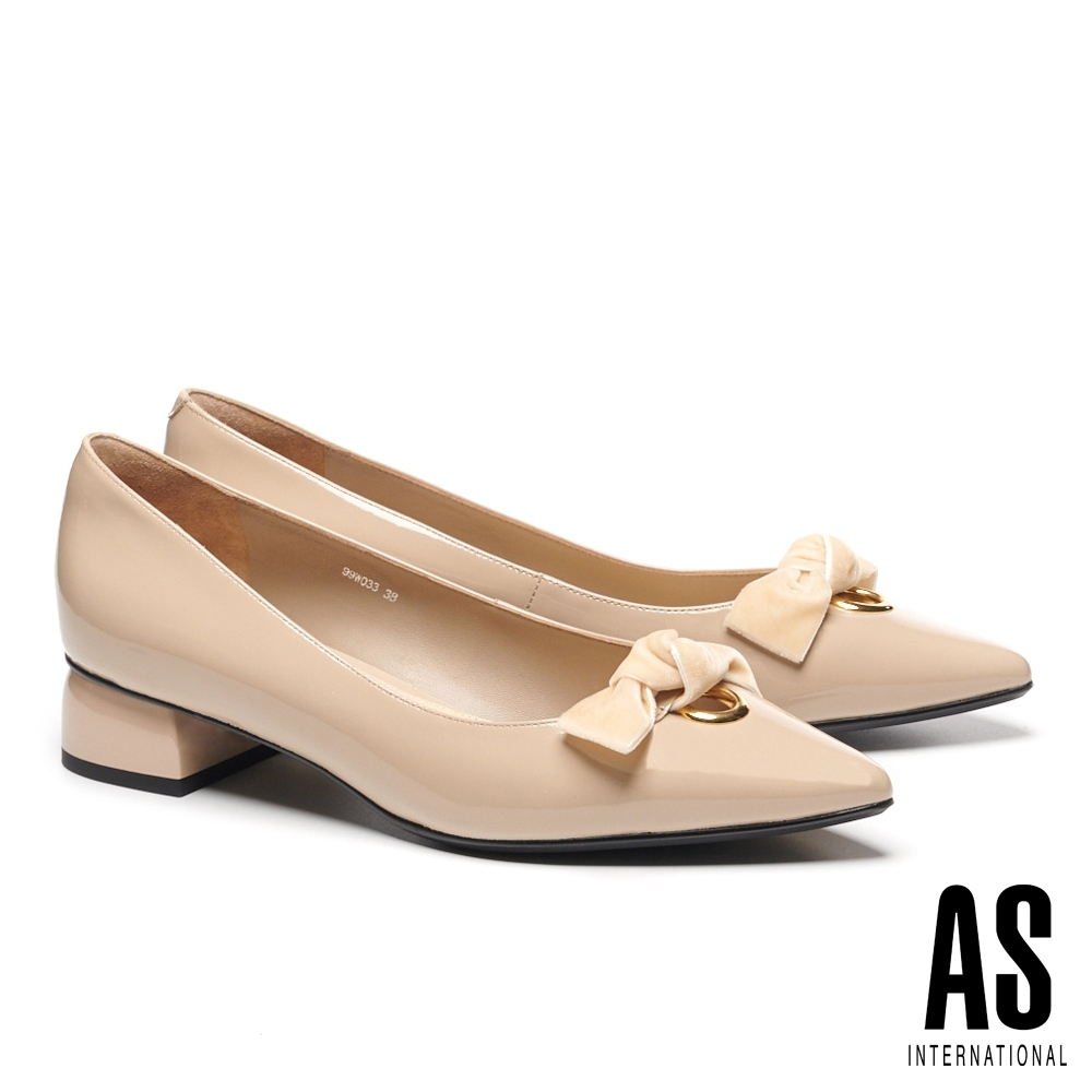 低跟鞋 AS 氣質典雅蝴蝶扭結釦環尖頭低跟鞋-米