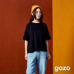 gozo 配色雙壓線棉質上衣(二色)