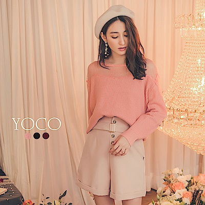 東京著衣-yoco 微透性感多色蕾絲領透膚長袖毛衣-S.M.L(共三色)