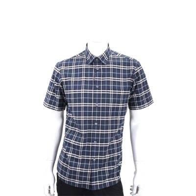 BURBERRY 經典格紋口袋短袖襯衫(海軍藍/男款)