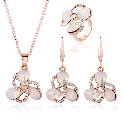 RJ New York 纏綿的愛蛋白石水鑽耳環項鍊戒指3件套組