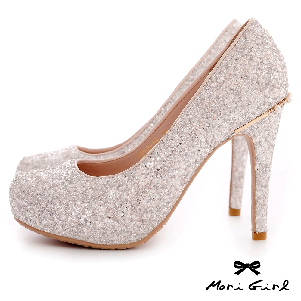 Mori girl光澤亮片後水鑽珍珠高跟婚鞋 銀粉