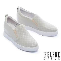 休閒鞋 HELENE SPARK 知性簡約格紋全真皮內增高厚底休閒鞋-灰