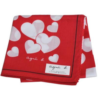 agnes b 繽紛愛心品牌字母LOGO帕領巾(紅系)