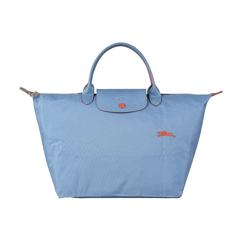 LONGCHAMP COLLECTION刺繡LOGO尼龍摺疊短把拉鍊手提包(中/霧藍x橘)
