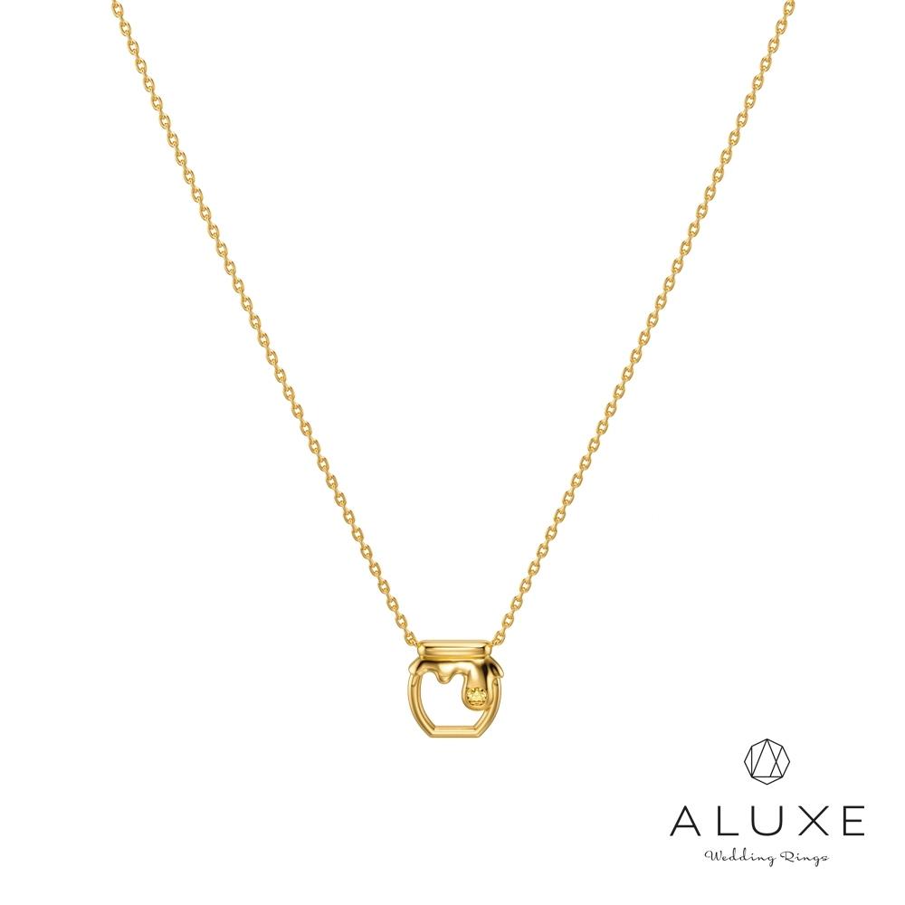 ALUXE亞立詩 小熊維尼 Honey系列10K黃水晶寶石項鍊