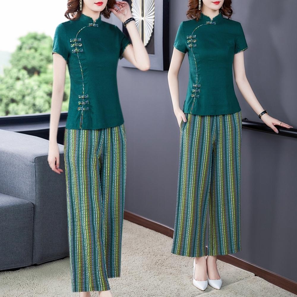 綠色復古民族衣褲二件套裝S-3XL-REKO